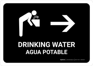 Drinking Water With Right Arrow Black Bilingual Landscape - Wall Sign