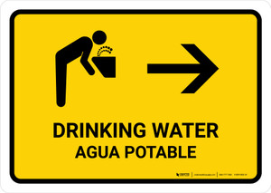 Drinking Water With Right Arrow Yellow Bilingual Landscape - Wall Sign