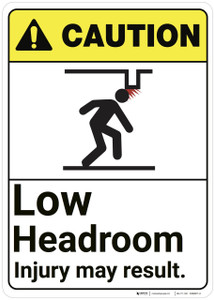 Caution: Low Headroom Injury May Result ANSI - Wall Sign