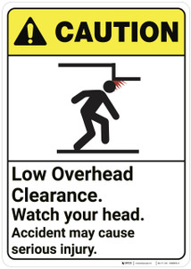 Caution: Low Overhead Clearance Watch Your Head ANSI - Wall Sign