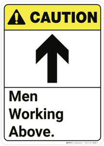 Caution: Men Working Above ANSI - Wall Sign