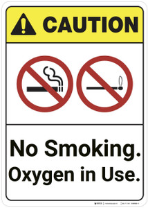 Caution: No Smoking Oxygen In Use ANSI - Wall Sign