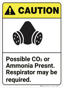 Caution: Possible Co2 Present Respirator May Required ANSI - Wall Sign
