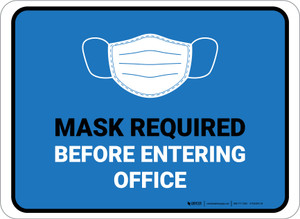 Masks Required Before Entering Office Blue Rectangular - Floor Sign