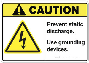 Caution: Prevent Static Discharge ANSI - Wall Sign