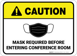 Caution: Mask Required Before Entering Conference Room Rectangular - Floor Sign