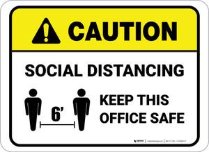 Caution: Social Distancing Keep This Office Safe Rectangular - Floor Sign