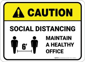 Caution: Social Distancing Maintain A Healthy Office Rectangular - Floor Sign