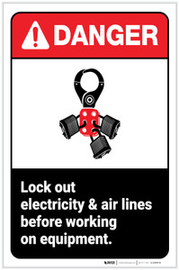 Danger: Lock Out Electricity & Air Lines Before Working On Equipment ANSI with Icons Portrait - Label