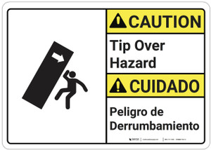 Caution: Tip Over Hazard Bilingual - Wall Sign
