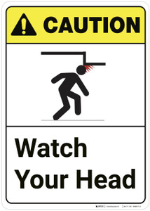 Caution: Watch Your Head ANSI Vertical - Wall Sign