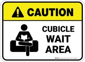 Caution: Cubicle Wait Area Rectangle - Floor Sign