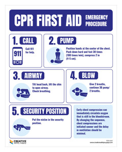 CPR First Aid Emergency Procedure - Poster