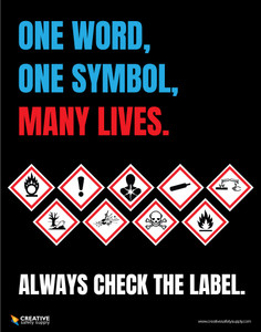 One Word, One Symbol, Many Lives - Check the Label GHS- Poster