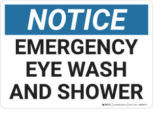 Notice: Emergency Eye Wash Shower - Wall Sign