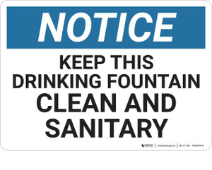 Notice: Housekeeping Drinking Fountain Clean - Wall Sign