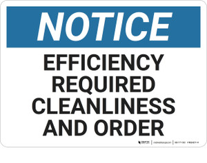 Notice: Housekeeping Efficiency Clean Order - Wall Sign