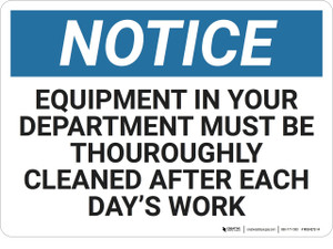 Notice: Housekeeping Equipment Cleaned - Wall Sign
