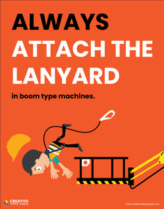 Fall Protection - Always Attach the Lanyard in Boom Type Machines - Poster