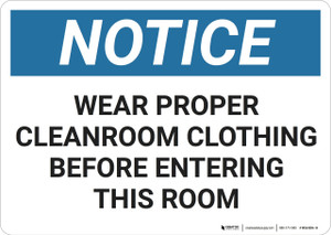 Notice: PPE Cleanroom Clothing - Wall Sign
