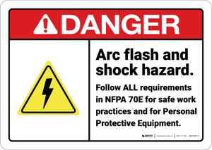 Danger: Arc Flash Shock Hazard Follow All Requirements ANSI - Wall Sign