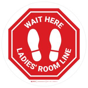 Stop - Wait Here - Ladies Room Line White Circle - Floor Sign
