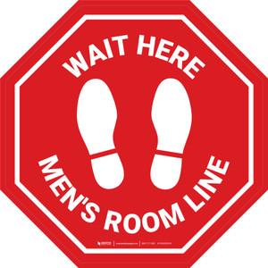 Stop Sign - Wait Here - Men Room Line - Floor Sign