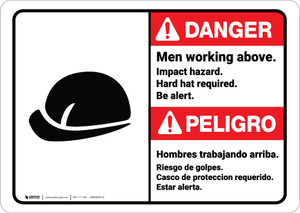 Danger: Men Working Above Impact Hazard Hard Hat Bilingual ANSI - Wall Sign