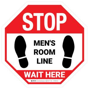 Wait Here - Men Room Line White Stop - Floor Sign