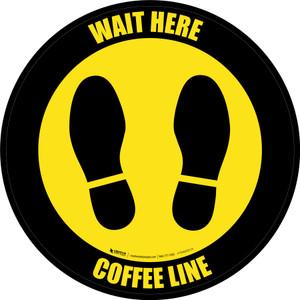 Yellow/Black Wait Here - Coffee Line Circular - Floor Sign