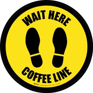 Yellow Wait Here: Coffee Line Circular - Floor Sign