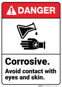 Danger: Corrosive Avoid Contact ANSI - Wall Sign