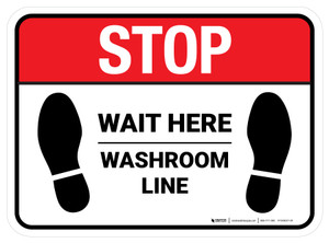 Stop Wait Here - Washroom Line Rectangle - Floor Sign