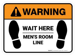 Warning: Wait Here - Men Room Line Rectangle - Floor Sign