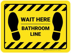 Wait Here: Bathroom Line Yellow Hazard Rectangle - Floor Sign