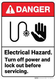 Danger: Electrical Hazard Lock Out ANSI - Wall Sign
