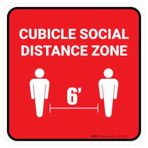 Cubicle Social Distance Zone Red Square - Floor Sign