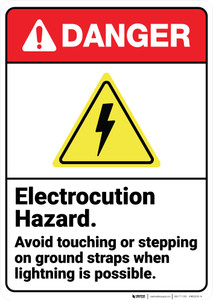 Danger: Electrocution Hazard Avoid Touching Ground Straps ANSI - Wall Sign