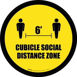 Cubicle Social Distance Zone Yellow Circle - Floor Sign