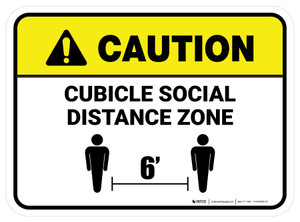 Caution: Cubicle Social Distance Zone Rectangle - Floor Sign