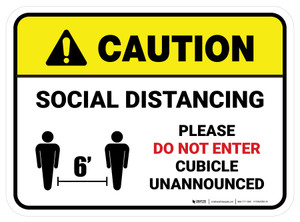 Caution: Social Distancing Please Do Not Enter Cubicle Unannounced Rectangle - Floor Sign
