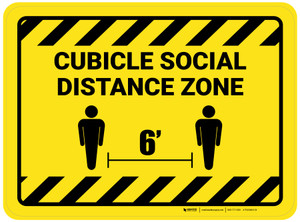 Cubicle Social Distance Zone Rectangle Yellow Hazard - Floor Sign