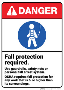 Danger: Fall Protection Required ANSI - Wall Sign