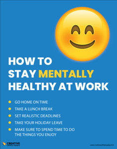 How To Stay Mentally Healthy At Work Emoji - Poster
