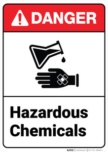 Danger: Hazardous Chemicals ANSI - Wall Sign