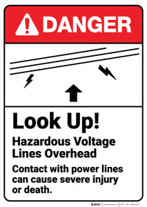 Danger: Look Up Hazardous Voltage Lines Overhead ANSI - Wall Sign