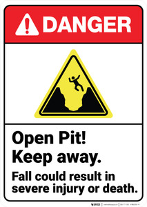 Danger: Open Pit Keep Away Fall Result In Injury ANSI - Wall Sign