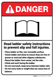 Danger: Read Ladder Safety Instructions Prevent Fall Injuries ANSI - Wall Sign