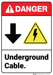 Danger: Underground Cable Down Arrow Electric Shock Symbol ANSI - Wall Sign