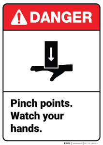Danger: Warning Pinch Points Watch Hands Vertical ANSI - Wall Sign